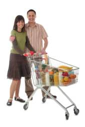 happy couple shopping for groceries