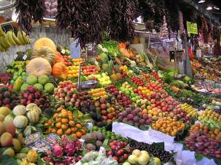 beautiful colorful produce in a market